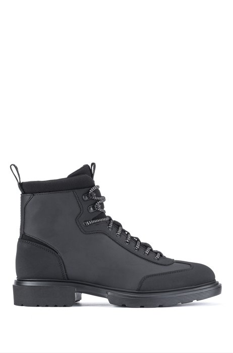 Hiking-style boots with rubberised uppers and neoprene trims, Black
