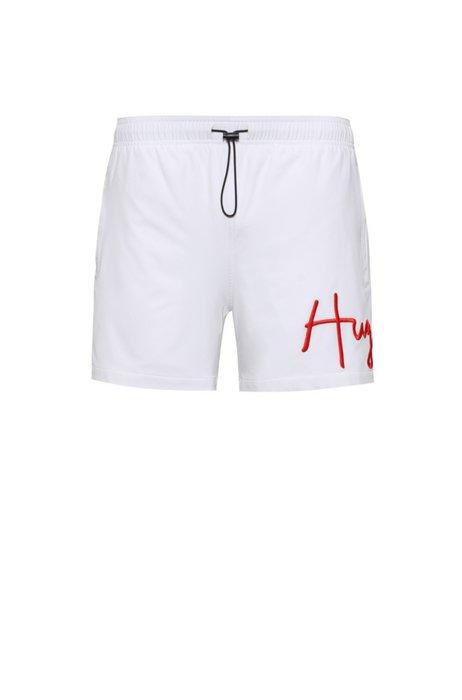 Ripstop-material swim shorts with handwritten logo, White
