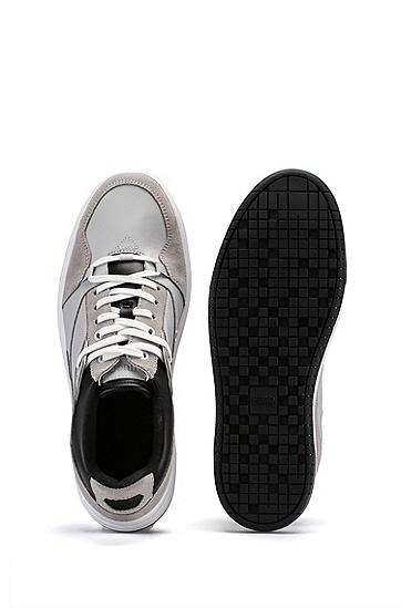 麂皮饰边混合材质低帮运动鞋,  051_Light/Pastel Grey
