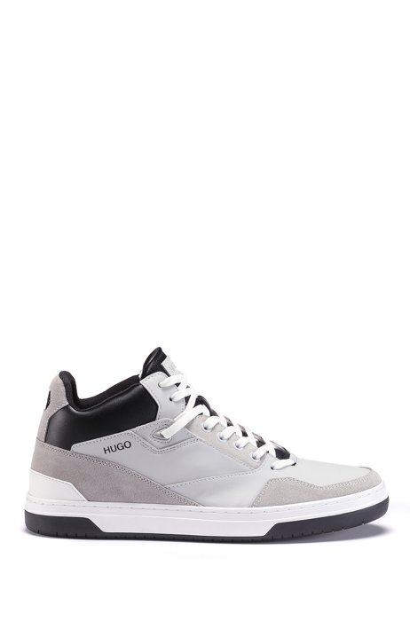 High-top trainers with rubberised uppers and suede trims, Light Grey