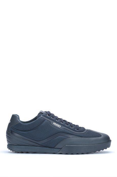 Low-top trainers in mixed materials with logo details, Dark Blue
