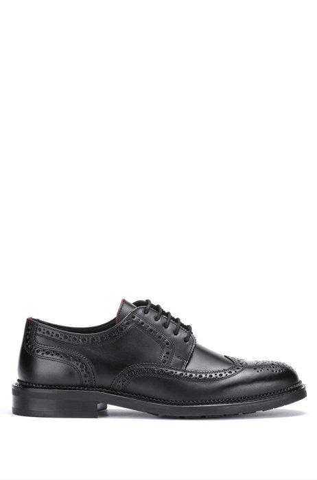 Derbyschoenen van glad leer met broguedetails, Zwart