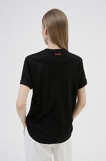 心形涂鸦印花棉 质T 恤,  001_Black