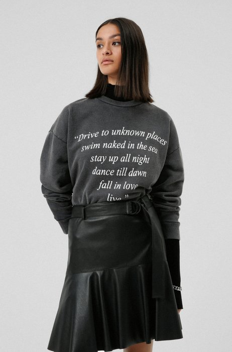 Relaxed-fit sweatshirt in organic cotton with poetic print, Black