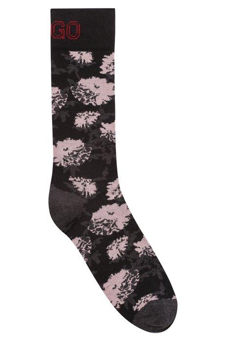 Floral pattern logo socks in a combed-cotton blend, Black