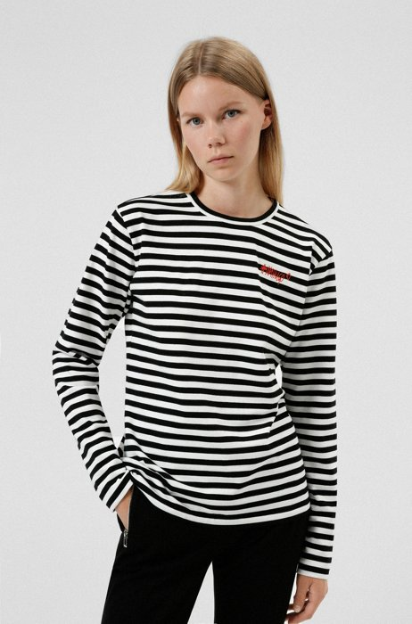 Organic-cotton striped jersey T-shirt with logo hashtag, Patterned