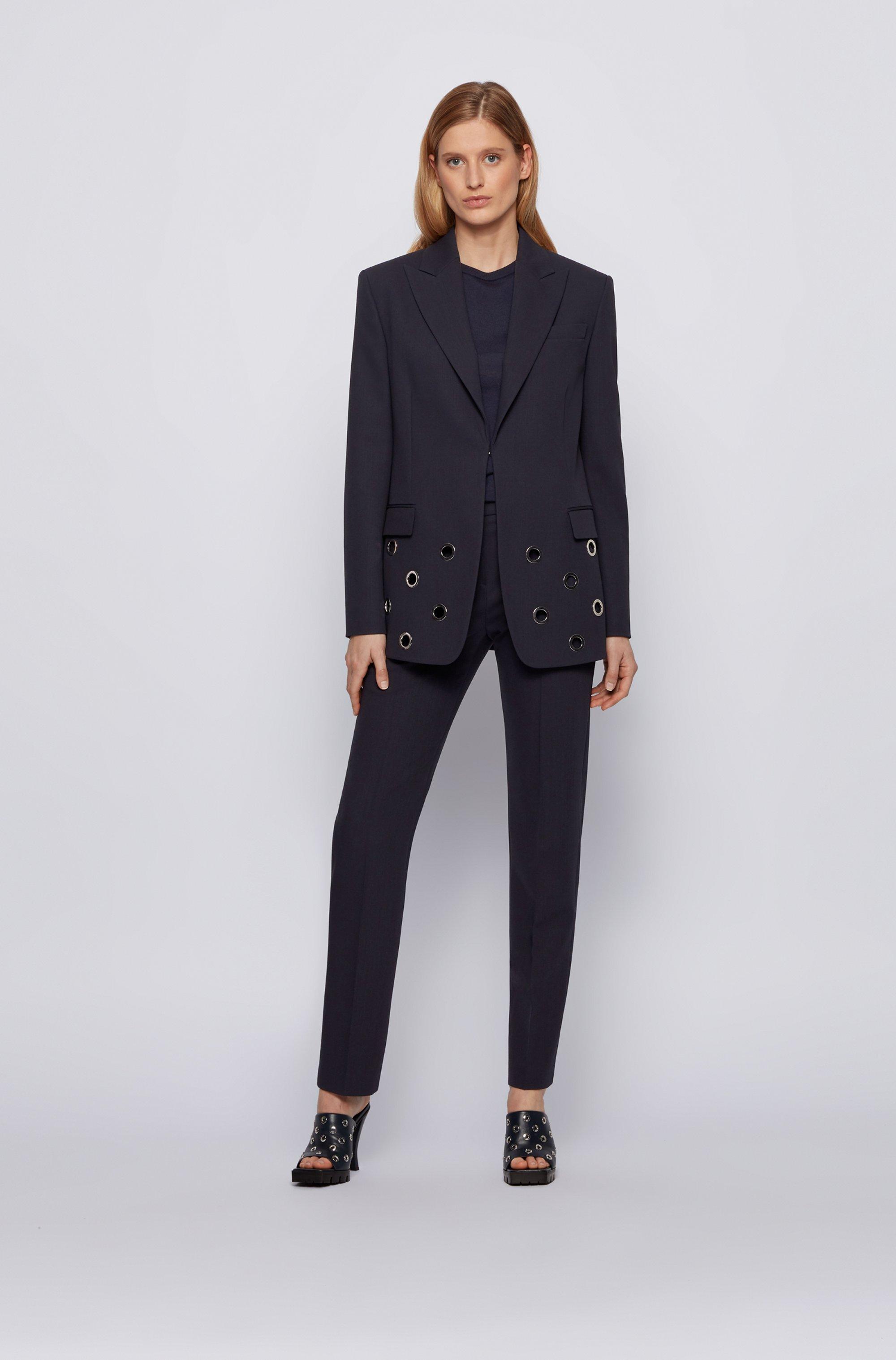 Eyelet-trim jacket in Italian virgin wool