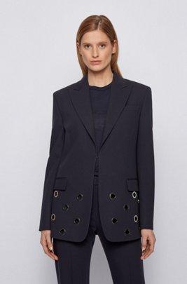 Eyelet-trim jacket in Italian virgin wool, Light Blue