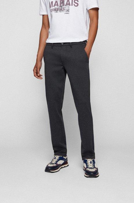Pantaloni slim fit in jersey elasticizzato microstrutturato, Blu scuro