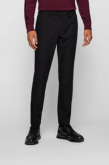 饰有胶囊系列标签的弹性面料修身长裤,  001_Black