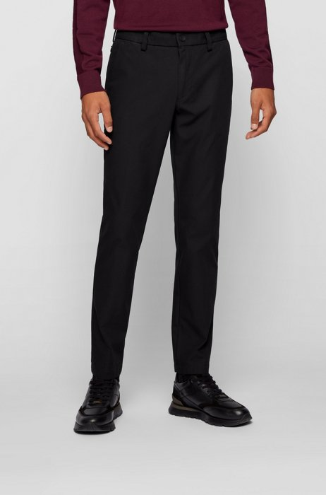 Slim-fit trousers in stretch fabric with capsule label, Black