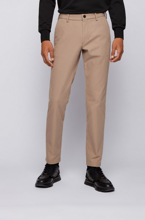 Slim-fit trousers in stretch fabric with capsule label, Light Brown