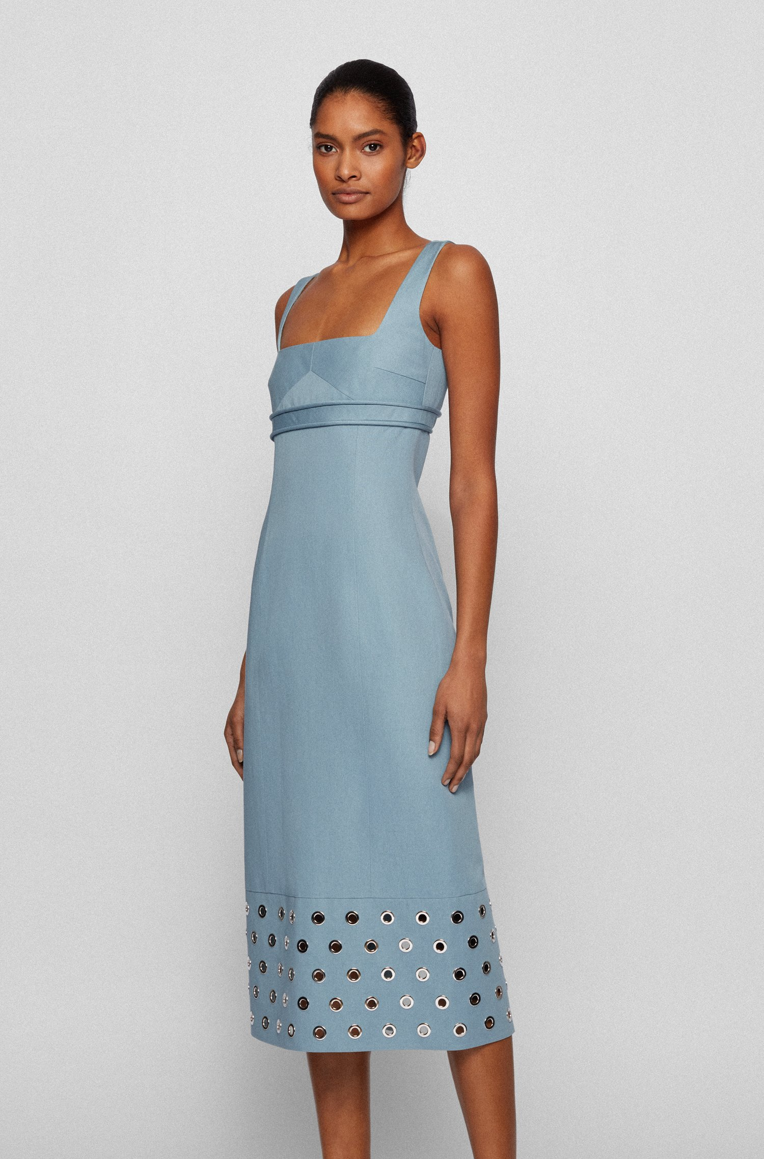 Cotton-linen dress with eyelet trims and rear zip, Light Blue