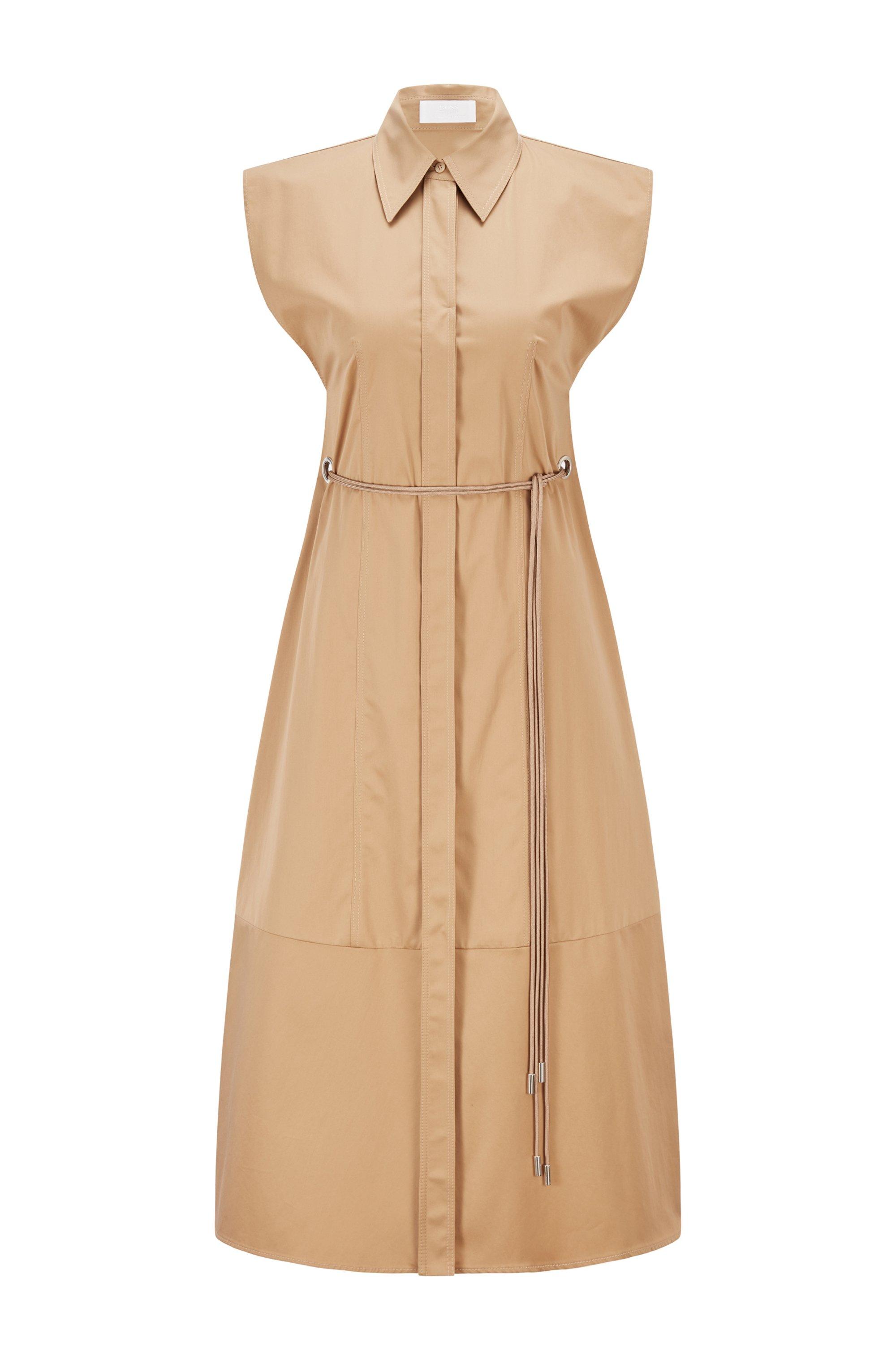 Robe-chemise en coton pur avec ceinture et mancherons, Brun chiné