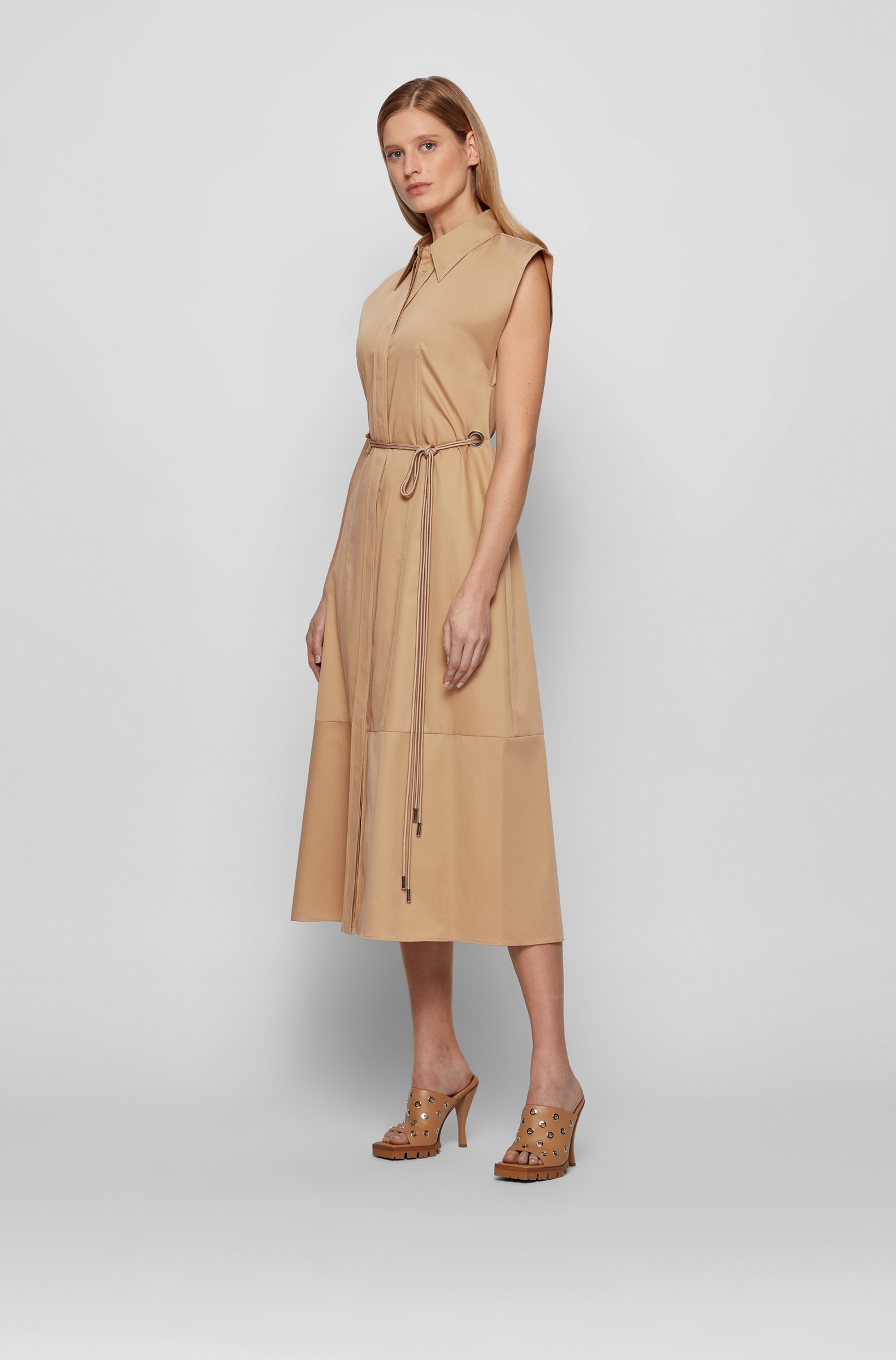 Belted shirt dress in pure cotton with cap sleeves