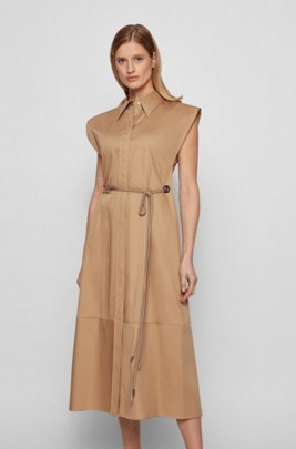 Belted shirt dress in pure cotton with cap sleeves, Light Brown