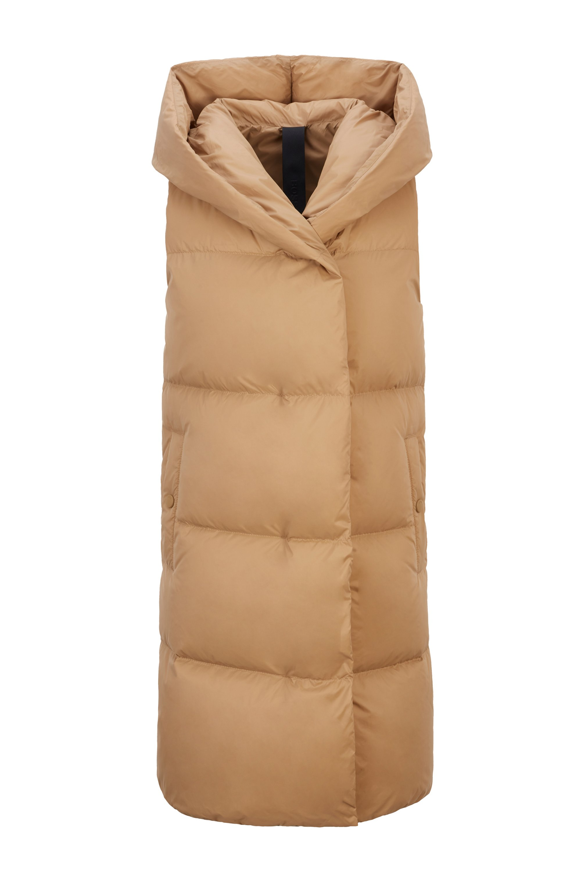 Long-length water-repellent down gilet in lustrous fabric, Light Brown