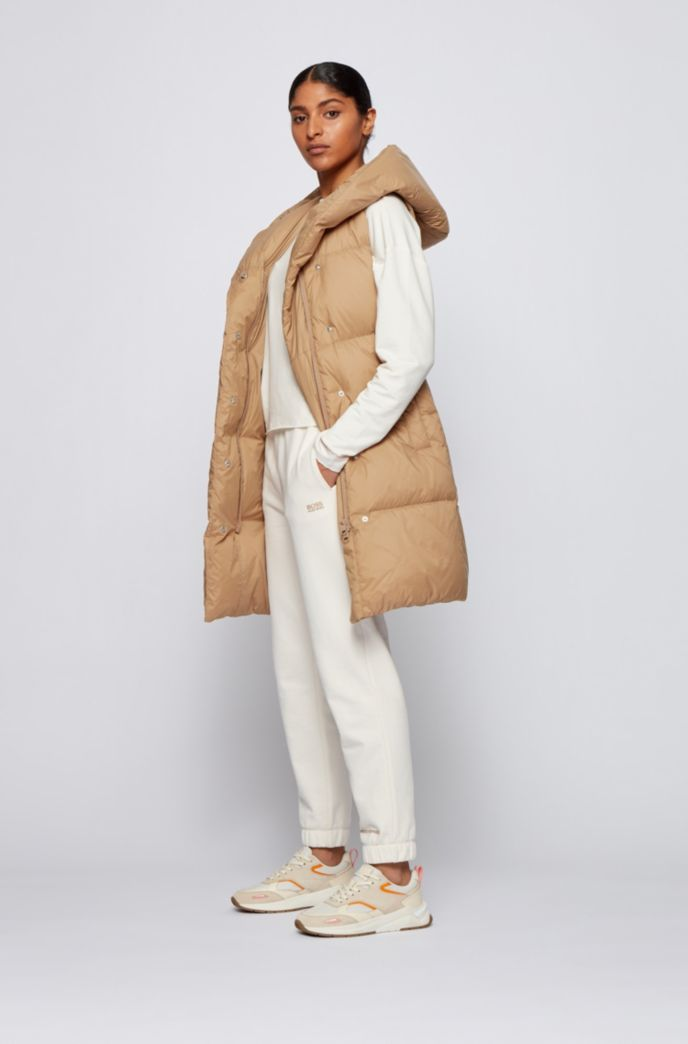 Long-length water-repellent down gilet in lustrous fabric