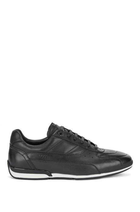Nappa-leather low-top trainers with embossed panel, Black