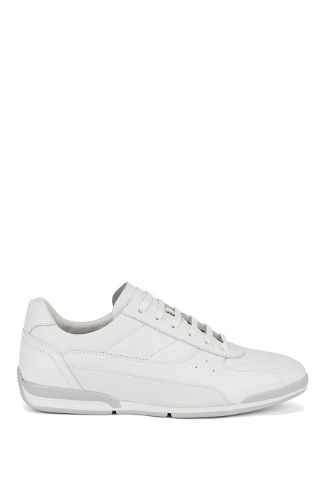 Nappa-leather low-top trainers with embossed panel, White