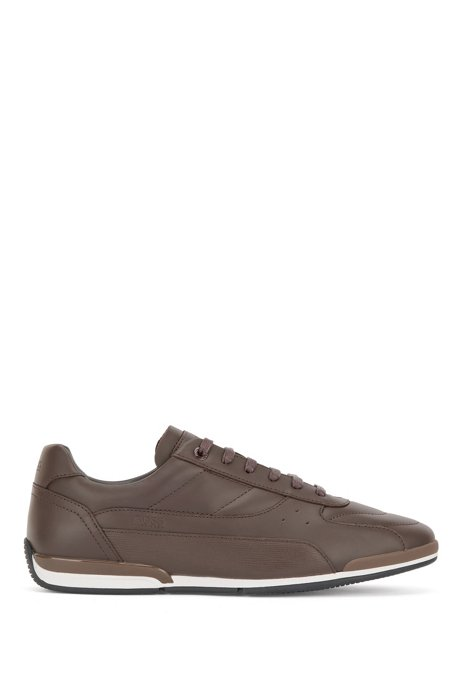 Nappa-leather low-top trainers with embossed panel, Dark Brown