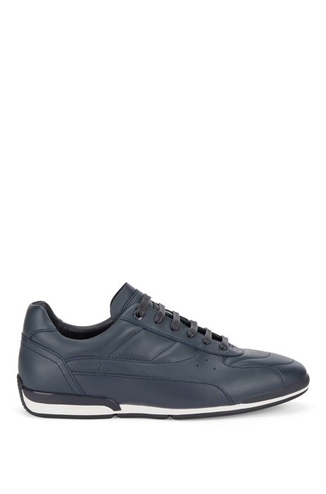 Nappa-leather low-top trainers with embossed panel, Dark Blue