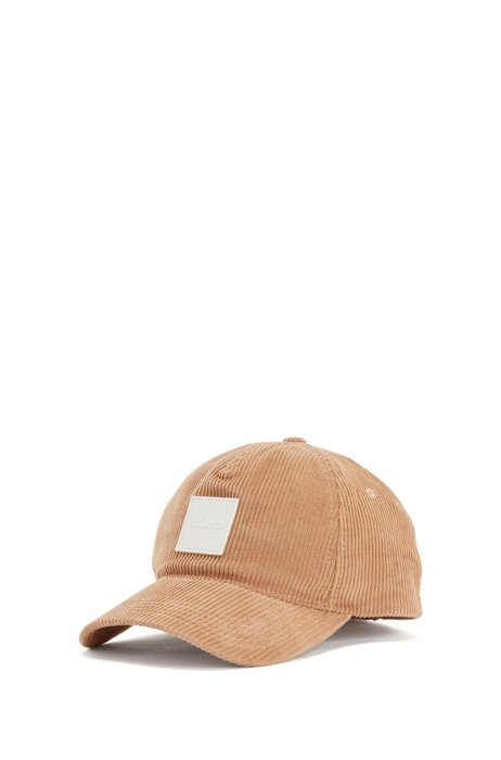 Lined cap in cotton-corduroy with logo patch, Beige