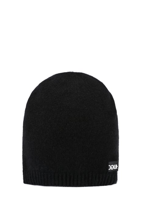 Reverse-logo beanie hat in pure cashmere, Black