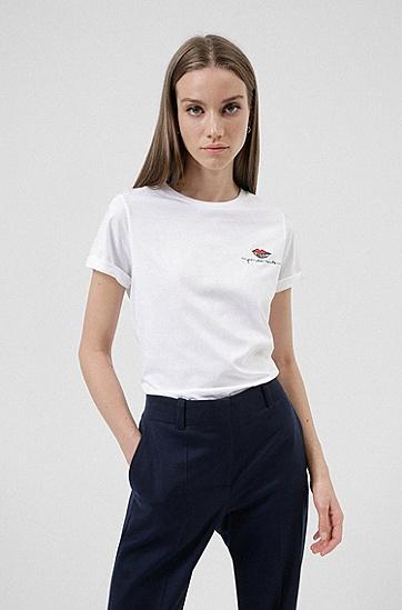亲吻徽标装饰棉质修身 T 恤,  100_White