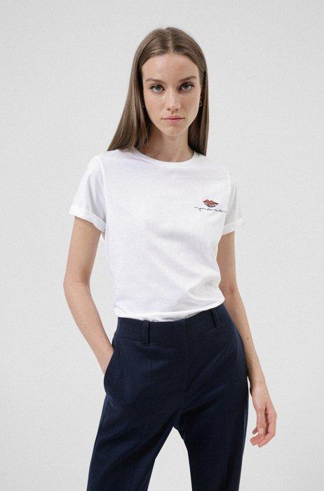 Organic-cotton slim-fit T-shirt with kiss logo, White
