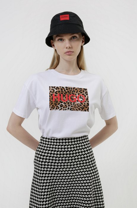 Graphic-print relaxed-fit T-shirt in organic cotton, White
