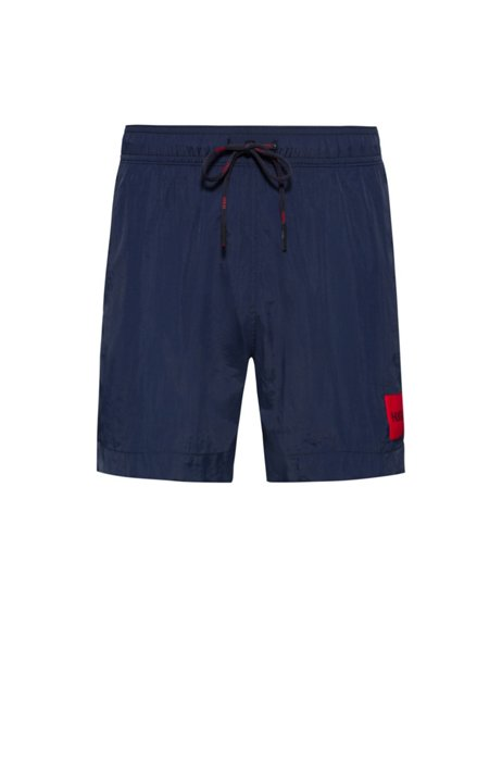 Quick-drying swim shorts in recycled fabric with logo label, Dark Blue