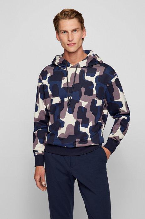 Hooded sweatshirt in mercerised organic cotton with collection print, Dark Blue