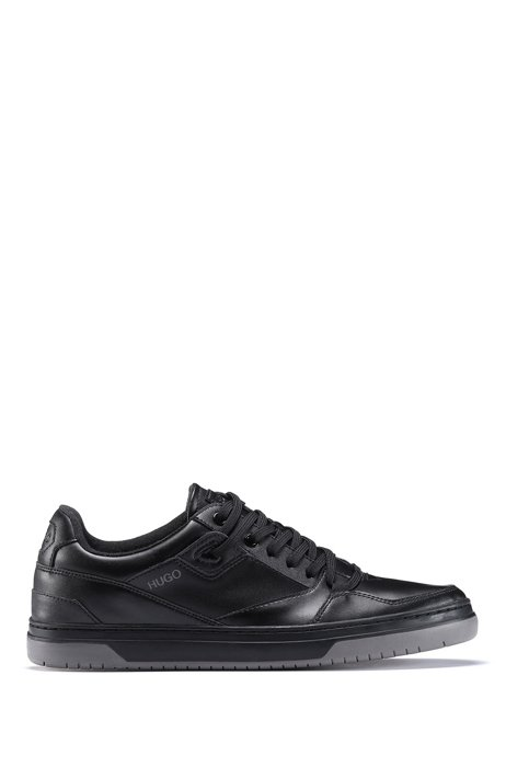 Low-profile trainers with bonded-leather uppers, Black