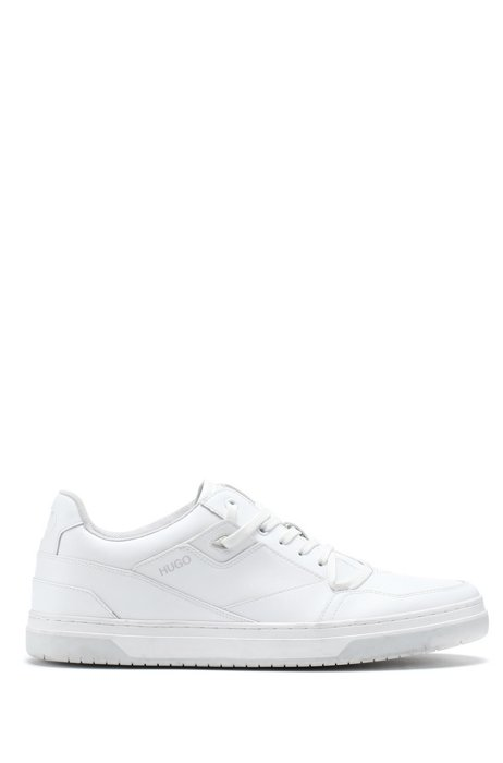 Low-profile trainers with bonded-leather uppers, White