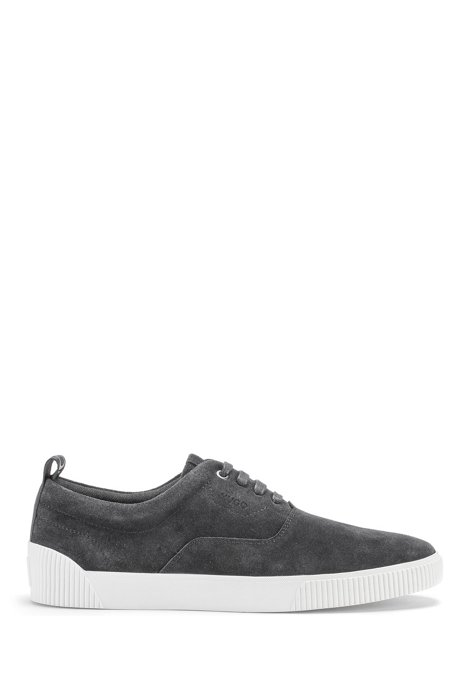 Suede trainers with branded tape, Dark Grey