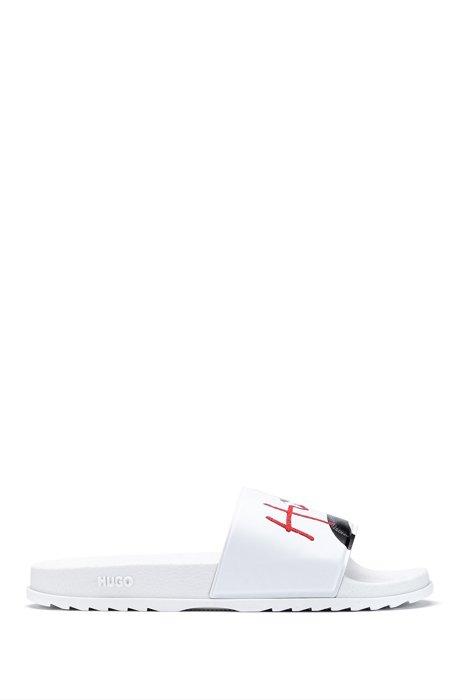 Italian-made slides with snake artwork and handwritten logo, White