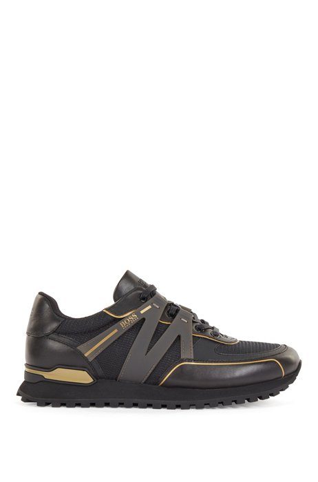 Hybrid trainers with branded rubberized trim, Black