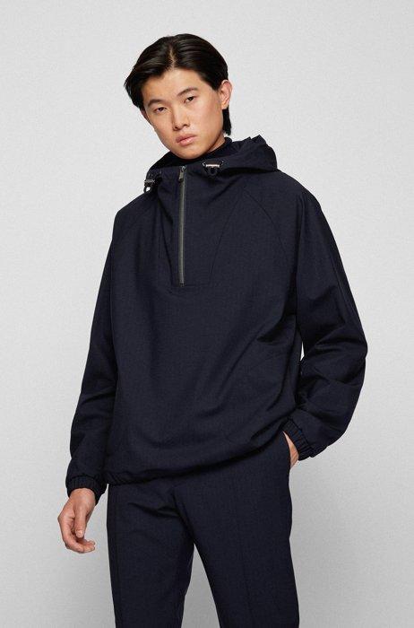 Regular-fit zip-neck jacket in stretch virgin wool, Dark Blue