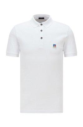 Gestricktes Slim-Fit Poloshirt mit exklusivem Logo, Weiß
