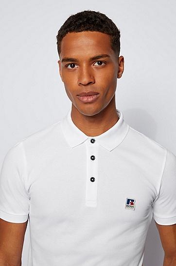 RUSSELL联名专属徽标饰修身针织中性 Polo 衫,  100_White