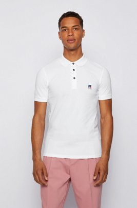 Slim-fit knitted unisex polo shirt with exclusive logo, White