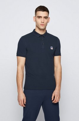 Slim-fit knitted unisex polo shirt with exclusive logo, Dark Blue