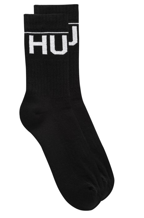 Two-pack of quarter-length ribbed cotton-blend socks, Black