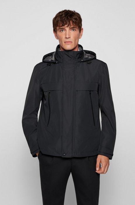 Veste trois-en-un en softshell, à capuche amovible, Noir
