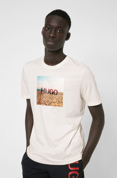Cotton T-shirt with beach print and logo, White