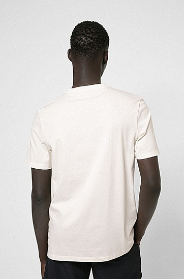 海滩印花徽标棉质 T 恤,  107_Natural
