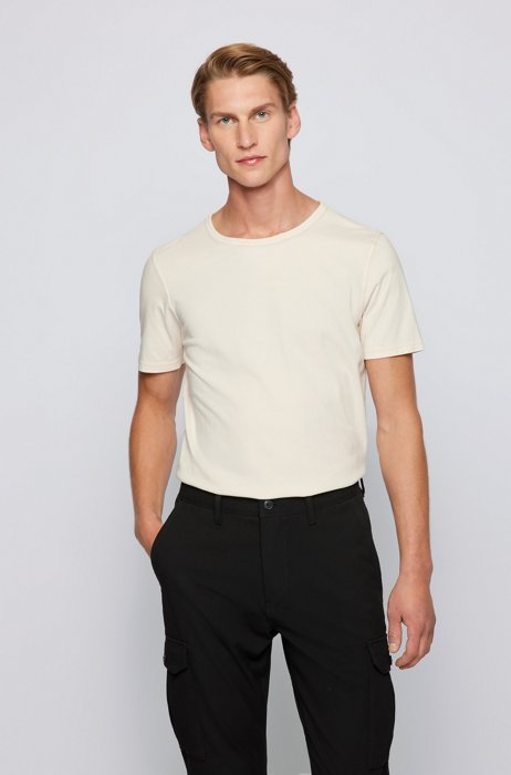 Organic-cotton T-shirt with garment-dyed finish, Light Beige