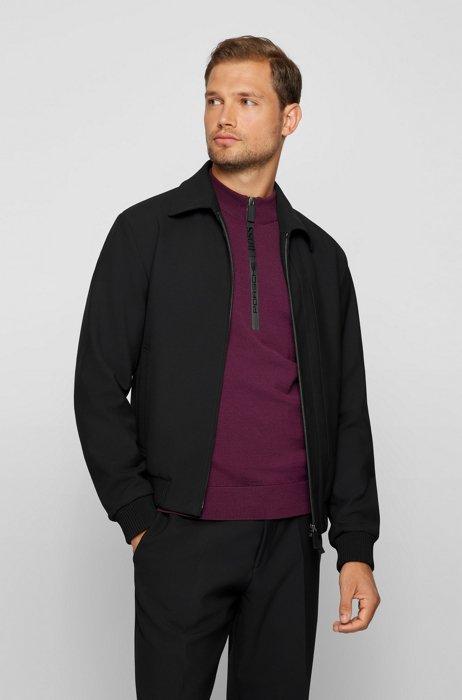 Slim-fit jacket in performance fabric with capsule branding, Black