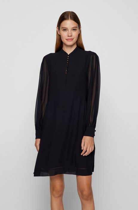 Long-sleeved dress with buttoned neckline and side pockets, Black